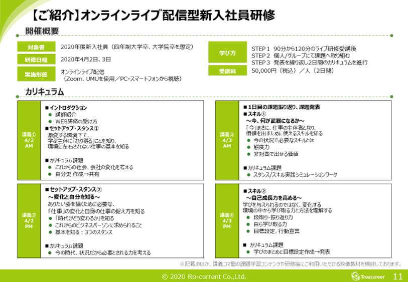 オンライン・ライブ配信型、新入社員研修のご紹介